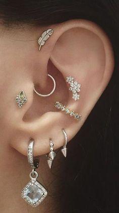 Silver Leaf Ear Piercing for Forward Helix Earring, Cartilage Stud, Tragus Piercing Tragus Piercings, Piercing Cartilage, Cute Ear Piercings, Multiple Ear Piercings, Body Piercings, Cartilage Earrings, Snug Piercing, Conch Earring, Double Cartilage