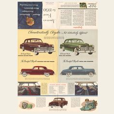 In 1950 when Charles and Ray Eames introduced the Eames fiberglass chair, Chrysler presented this line of cars. Retro Cars, Vintage Cars, Vintage Stuff, Chrysler Saratoga, Selection Boxes, Car Advertising, Us Cars, Town And Country, Mopar
