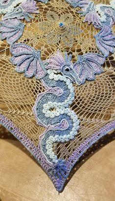 Crochet Dragon Applique Pattern Only Crochet Dragon Pattern, Irish Crochet Patterns, Crochet Diagram, Applique Patterns, Russian Crochet, Crochet Art, Thread Crochet, Crochet Blocks, Crochet Squares