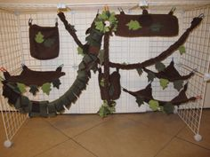 Woodland-jungle-theme-Sugar-Glider-9-piece-brown-leaf-design-fleece-cage-set made by Holly West