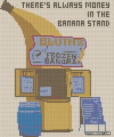 Bluth Frozen Banana Stand Cross Stitch Pattern by StitchBucket, $3.99