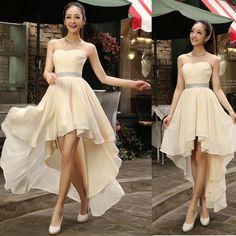 $ - Awesome Best Sale 2016 Crystal Sashes Sleeveless Pleat Chiffon Short Front Long Back Bandage Evening Dresses - Buy it Now!