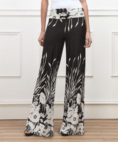 Another great find on #zulily! Black & White Flower High-Waist Palazzo Pants by Reborn Collection #zulilyfinds