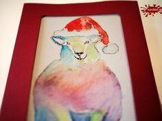 Weihnachtskarten mal anders: als- Einzelstück handgemalte Weihnachtskarte Buntschaf - ein Designerstück von wandklex bei DaWanda Postkarte mal anders;  handgemalte Karten - geht übrigens auch nach Ihrem Foto :-) Alles zu haben im kleinen Klexshop auf DaWanda unter http://de.dawanda.com/shop/wandklex (einzeln handgemalte Karten, ;-) )  Jede Karte ein Unikat, alle Tierrassen und auch Personen möglich, auch Kleinserien.