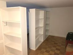 Custom L-shape bookcase wall with sliding door. Call us for all your custom room divider and storage wall inquiries. Temporary Wall Divider, Temporary Door, Wall Storage Shelves, Bookcase Wall, Room Divider Bookcase, Shelf, Locker Storage, Closet Behind Bed, Bedroom Divider