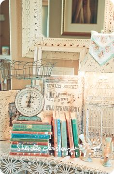 Minty vintage scale with the color coordinated books.
