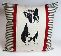 Boston Terrier Hand Screen Print Pillow  by ecarlateboutique