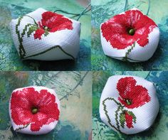 Pincushions, Cross Stitch Embroidery, Needlepoint, Poppies, Projects To Try, Throw Pillows, Sewing, Crochet, Fabric