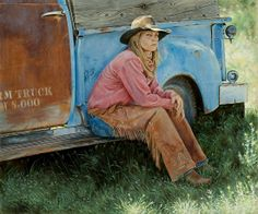 art Ann Hanson | ART WESTERN (Ann Hanson) Country Women, Country Art, Cowboy Art, Cowboy And Cowgirl, Nebraska, Westerns, Old Faithful, Painting People, Equine Photography