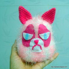 Crocheted Amigurumi Pink grumpy cat  ready to ship by BeACrafterxD, $30.00