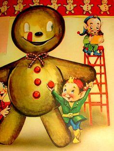 Gingerbread man & elves vintage xmas card.