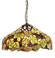 Lighting Web Co - Lampada pendente da soffitto in vetro, con motivo Tiffany a