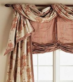 Simple and Stylish Tailored Valances coordinating panels, draped fabric over pole swag & shade. Can be made elegant w/ silk fabric or casual with cotton fabric.Casual Casual or Casuals may refer to: Window Coverings, Window Treatments, Kitchen Window Dressing, Style Français, Curtain Designs, Curtain Ideas, Valance Ideas, Drapery Ideas, Draped Fabric