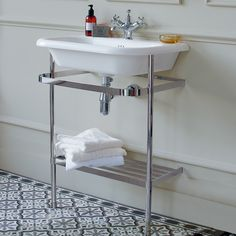 Floor Standing Basin Units | Clearwater Medium roll top basin stand - 65cm - Stainless Steel