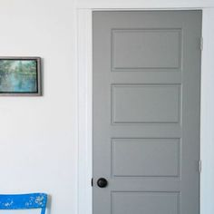 DIY tutorial for getting factory finish gray painted interior doors. PARA Paint's Courtyard was the perfect match for the IKEA Lindigo/Bobdyn gray cabinetry. Grey Interior Doors, Painted Interior Doors, Interior Trim, Painted Doors, Room Interior, Matching Paint Colors, Wall Paint Colors, Interior Paint Colors, Grey Front Doors