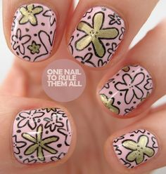 nail art - nail design - One Nail To Rule Them All: gold floral print design