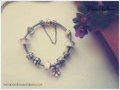 Pandora cherry blossom oxidised bracelet