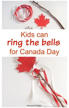 Canada Day noisemaker craft with bells and ribbon Preschool Toolkit Canada For Kids, All About Canada, O Canada, Toddler Crafts, Preschool Crafts, Crafts For Kids, Summer Crafts, Fun Crafts, Jingle Bell Crafts
