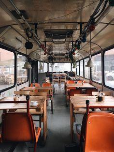 """""""Cafe Pförtner, Berlin. """" Simple Retro Coffee Shop In A Subway Car"""