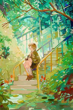 Pretty Art, Cute Art, Guache, Environment Concept Art, Anime Artwork, Environmental Art, Anime Scenery, Anime Art Girl, Aesthetic Art