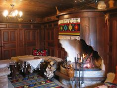 Bulgarian traditional home decor - fire place and wood. #homedecor #interior #rugs #fireplace