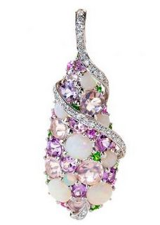 ISABELLE LANGLOIS ~   18K White Gold Pendant Necklace with Diamonds, Amethyst, Tsavorite,  Pink Sapphires, Tsavorite, and Pink Quartz