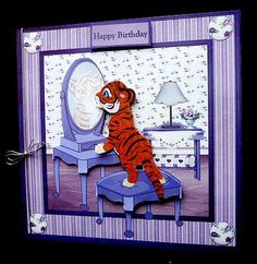 Tiger in the mirror card with decoupage on Craftsuprint designed by Angela Wake - made by Diane Hitchcox -