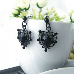 Pair of Exquisite Style Crystal Embellished Women's Heart-Shaped Earrings