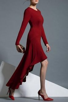 Wine Red Round Neck Long Sleeve High Low Dress