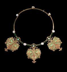 René Lalique (French , 1860 - 1945). Necklace ca. 1897 - gold, enamel, pearls, opals. | Virginia Museum of Fine Arts.