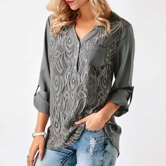 Cheap chiffon blouse, Buy Quality chiffon blouses shirts directly from China blouse fashion Suppliers: Embroidery Lace Chiffon Blouse Shirt Women Tops 2017 Autumn Winter Fashion Sexy Casual Long Sleeve Ladies Top Plus Size S-3XL