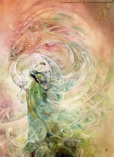 Midnight Ramblings: June 2011 by Stephanie Law. Illustration based on the fairy tale of Yeh-Shen[A cinderella variation[[One of my favorite artists illustrating one of my favorite fairy tales! Illustrations, Illustration Art, Earth Design, Fairy Art, Beauty Art, Mythical Creatures, Mythology, Watercolor Art, Fantasy Art
