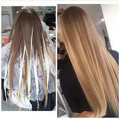 With that said, where does balayage differ from foils? balayage is usually left in the open air to process versus being in a foil. the hair being isolated Blonde Hair Looks, Blonde Hair With Highlights, Blonde Color, Hair Colour, Brown Hair Balyage, Blonde Haircuts, Hair Color Techniques, Balayage Hair, Hair Trends