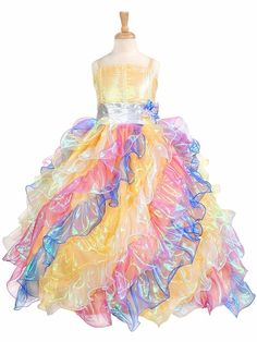 Rainbow Pageant Dress Girls