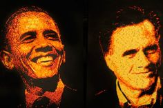 """""""Cheetos commissioned artist Jason Baalman to create these two 3 feet by 4 feet portraits from over Cheetos."""" Politics was never more cheesy.and delicious. (Click the picture to see Baalman at Work, including him in an awesome hat. Presidential Portraits, Presidential Candidates, Ephemeral Art, Bizarre News, Creative Food Art, Strange Photos, Sculpture Painting, Food Themes, Crazy People"""