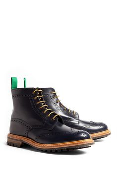 Navy Commando Brogue Stow Boots by Trickers