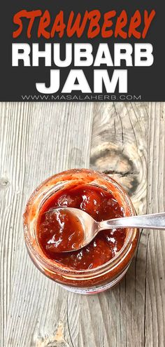 Homemade Rhubarb Strawberry Jam Recipe with fresh ingredients. Make this amazing jam today and enjoy it tomorrow on your breakfast bread! Jelly Recipes, Jam Recipes, Sweets Recipes, Holiday Recipes, Canning Recipes, French Recipes, Holiday Treats, Summer Recipes, Strawberry Rhubarb Jam