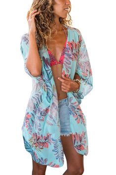 Blue Floral Print Chiffon Kimono Beachwear Swimsuit Cover-Up f253a32fc