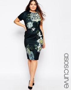 Image 1 of ASOS CURVE Premium Placed Floral Body-Conscious Dress
