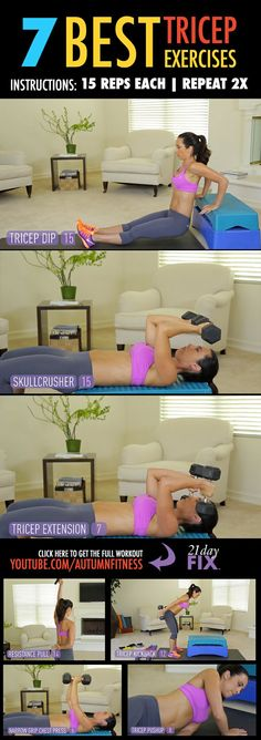 Want to start toning your arms? Try out these Tricep exercises as part of your weight loss program. Keep working for the body you want! http://www.onesteptoweightloss.com/21-day-fix-workout-review #15LBWeightLoss