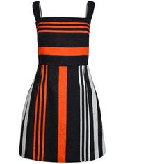 Dolce And Gabbana Strappy Striped Dress (29,705 INR) ❤ liked on Polyvore featuring dresses, stripes, striped cotton dress, reversible dress, dolce gabbana dress, zip dress and flower print dress
