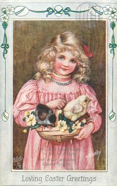 LOVING EASTER GREETINGS  girl in pink, two chicks