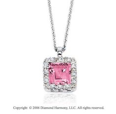 14k White Gold Princess Cizi Prong Diamond Necklace -> Description: This fun pink cizi is framed in beautiful diamonds. Call your friends and get the party going in this 14k White Gold Princess Cizi Prong Diamond Necklace. -> sku=NK3110 -> Price $275.00