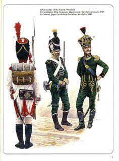 Westphalia; L to R Grenadier of The Guard. Jaeger Guard Regt, Elite Co. Carabiner c.1808. & Jaeger-Carabiner Battalion, Colonel c.1810