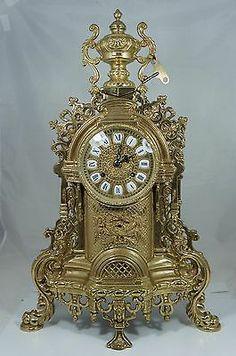 Vintage Italian Brass Mantle Clock Italy Lancini Rococo Style Fancy Ornate