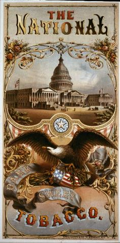 The National Tobacco - dark, sweet tobacco label with eagle.