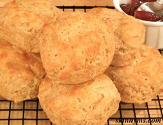 These Skinny Old-Fashioned Buttermilk Biscuits are light, flaky, and healthy.  Try one biscuit with our delicious apple butter.