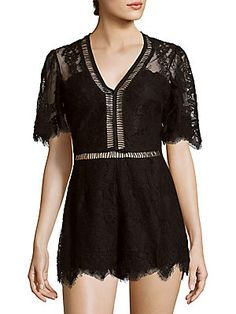 2f63d7b73b28 Lovers + Friends - Josephine Scalloped Floral Lace Romper