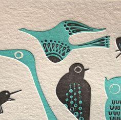 letterpress birds card.. $4.75, via Etsy.