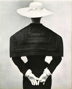1952 ~ Model in dress with large square collar in silk trimmed with numerous piqures is by Lanvin Castillo, photo Pottier